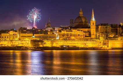 View of Valletta with fireworks on Easter 2015 - Malta