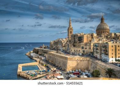 View of Valletta and Marsamxett in Malta on a bright Autumn day.