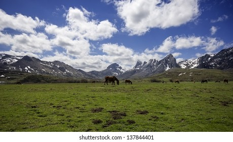 View of Valley of Arbas in the north mountains of Leon, Castilla - Leon, Spain