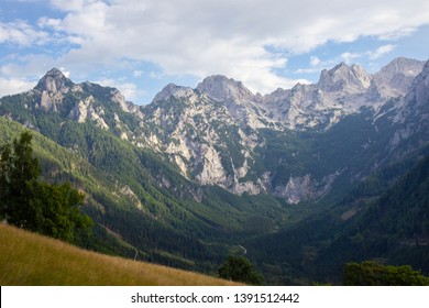 View of  a valley in austrian Alps, Carinthia region near border with Slovenia