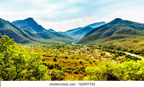 View of the Valley of the Elephant with the village of Twenyane along the Olifant River in Mpumalanga Province in northern South Africa