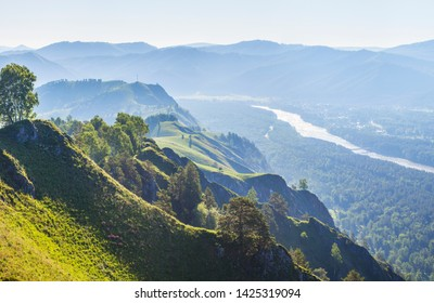 View of the valley and the Katun River from the mountain, Altay. .
