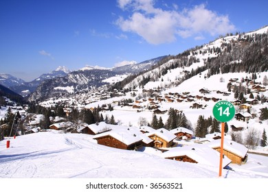 view of the valley of la clusaz in the alps france