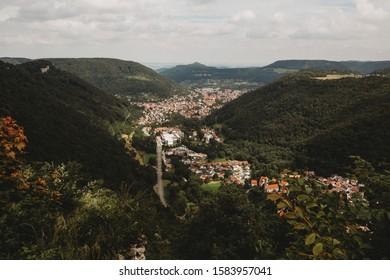 View of valley in Lichtenstein Germany