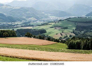 View of the valley and mountains in an Austrian village Aschach an der Steyr with wheat fields, open spaces and fresh air.