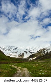 View of the valley near the Main Caucasian ridge, Svaneti, Georgia