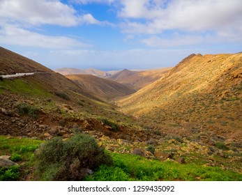 View of the valley in northern part of Fuerteventura, Spain.