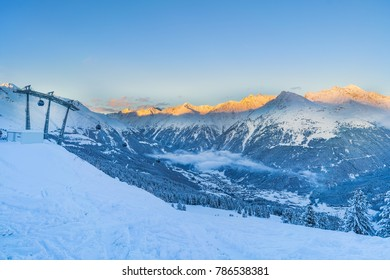 View of the valley Oetztal and the skiing resort Sölden in Tirol Austria