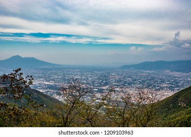 View of the valley from the Regional Park of Monti Lattari, Pompeii and Mount Vesuvius in the background. In the province of Salerno, on the Amalfi coast.