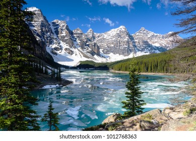 View of Valley of the Ten Peaks moraine lake wwith blue sky in springs, Banff National Park, Alberta, Canada