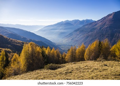 View of the valley of Tirano and Sondrio in Valtellina, Italy