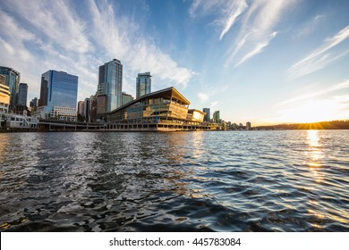 View of Vancouver Convention Centre, British Columbia (BC), Canada, from the water. Taken in Downtown during a beautiful cloudy sunset.