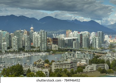 View of Vancouver skyline as viewed from Mount Pleasant District, Vancouver, British Columbia, Canada, North America September 14 2017