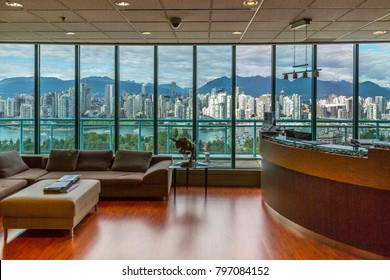 View of Vancouver skyline as viewed from Mount Pleasant District, Vancouver, British Columbia, Canada, North America 17 September 2017