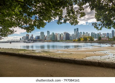 View of Vancouver skyline as viewed from Stanley Park, Vancouver, British Columbia, Canada, North America 17 September 2017