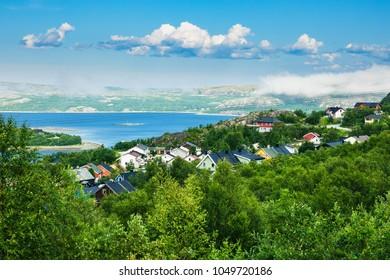 View to the Varangerfjord in Kirkenes, Norway.