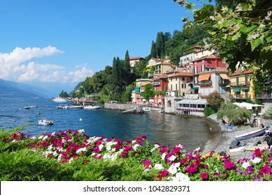 A  View of Varenna village on the eastern shore of Lake Como, Italy