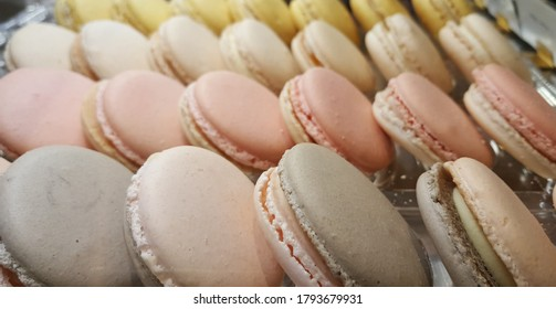 View of various favor of Macaron. It is a sweet meringue-based confection made with egg white, icing sugar, granulated sugar, almond powder or ground almond, and food colouring.