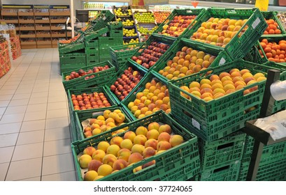 View of various fruits and vegetables in food store