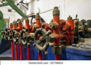 View of various valves on a olive oil factory.
