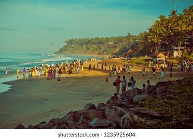 View of Varkala beach and palm trees. Kerala. India