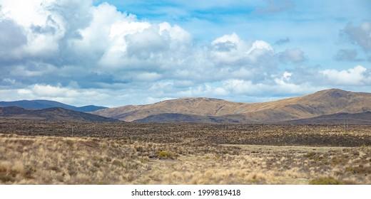 View of vast and empty land along Volcanic Loop Hwy in Waiouru Military Area, Manawatu-Wanganui, New Zealand.