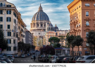 View of Vatican dome of Papal Basilica of St Peter in Vatican city