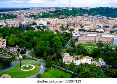 A view of Vatican gardens from the top of St. Peter's Basilica in Vatican