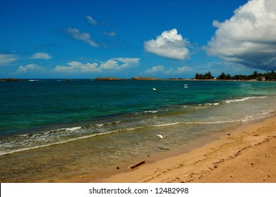 A view of Vega Baja beach in the north of Puerto Rico. Typical perfect Caribbean beach.
