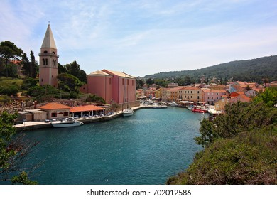 View of Veli Losinj town center on a hot sunny summer afternoon