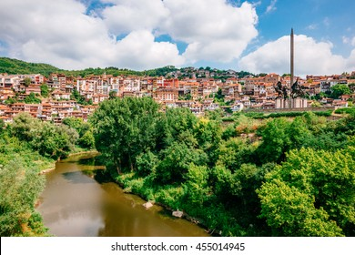 View of Veliko Tarnovo, a city in north central Bulgaria, Yantra river and Monument Asenevtsi