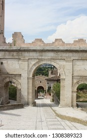 View of the Venere gate in the town of spello, Italy