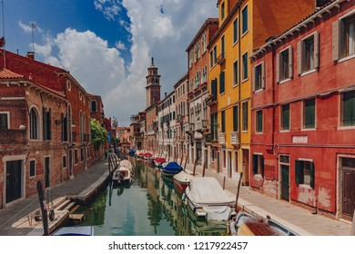 View of Venetian houses and canal in Venice, Italy