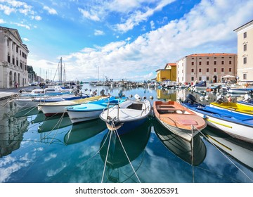 A view of the Venetian port city of Piran facing the Adriatic sea , Piran, Slovenia