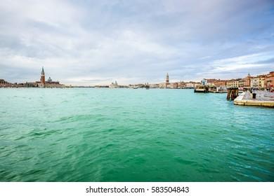 view of Venice waterfront, Piazza San Marco, San Giorgio di Maggiore church and The Doge's Palace, Venice, Italy, Europe