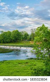View of The Venta Rapid, widest waterfall in Europe, Kuldiga, Latvia