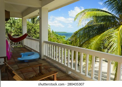 The view of a verandah of a beach house in the Caribbean