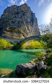 View of the Verdon river, the rock (Roc) of Castellane and the rock bridge, Alpes de Haute Provence, France.
