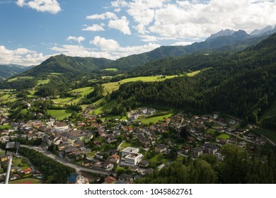 View of Verfen from height of bird's flight. Austria.
