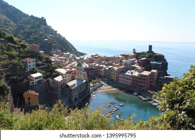 View of Vernazza from the coastal walk, Azure Trail, Cinque Terre, Italy.