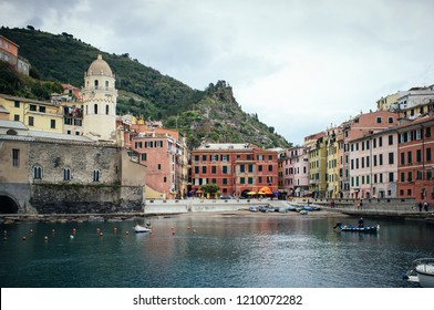 A view of Vernazza cost, one of the Cinqueterre towns in Liguria, Italy