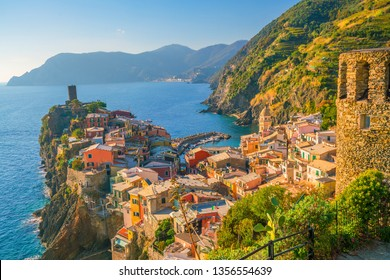 View of Vernazza. One of five famous colorful villages of Cinque Terre National Park in Italy