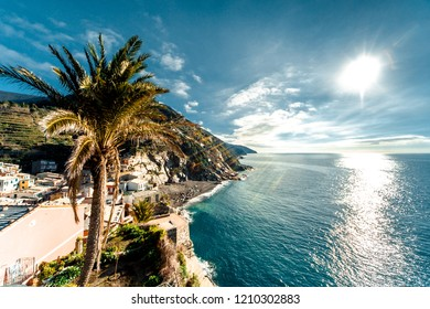 View of Vernazza seaside. Vernazza is a town in the province of La Spezia, Liguria, northwestern Italy.