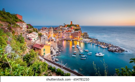 View of Vernazza at sunset, Liguria, Italy. Vernazza is a small town and one of the famous Cinque Terre towns.