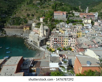 View of Vernazza from the Vernazza's tower. Cinque Terre. Italy.