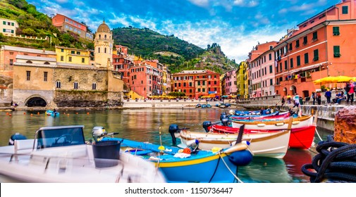 View of Vernazza village, Cinque Terre, Italy. View from the pier to the village