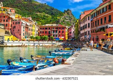 View of Vernazza village, Cinque Terre, Italy.