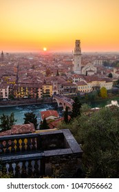 View of Verona city with Ponte Pietra and the river Adige at sunset.Italy.