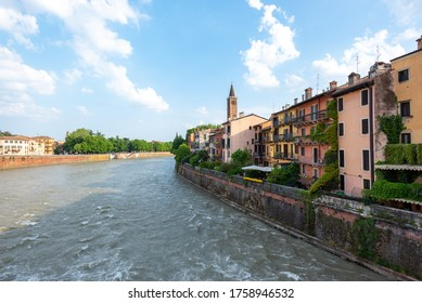 View of Verona from the Ponte Pietra over the river Adige.