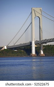 A view of the Verrazano Narrows Bridge and the Hudson River as seen from Brooklyn.